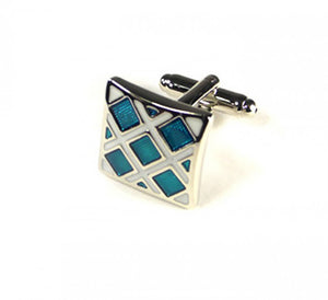 Blue White Grid Style Cufflinks (Premium High Quality Business / Wedding Accessories by Focus Ties)