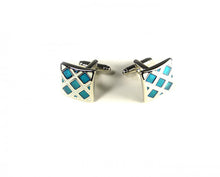 Load image into Gallery viewer, Blue White Grid Style Cufflinks