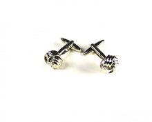 Load image into Gallery viewer, Silver Twisted Textured Knot Cufflinks