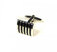 Load image into Gallery viewer, Black Striped Curved Cufflinks (Premium High Quality Business / Wedding Accessories by Focus Ties)