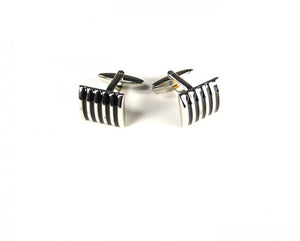 Black Striped Curved Cufflinks
