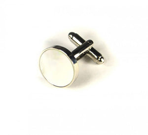 Pearl White Circle Cufflinks (Premium High Quality Business / Wedding Accessories by Focus Ties)