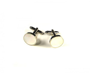 Pearl White Circle Cufflinks