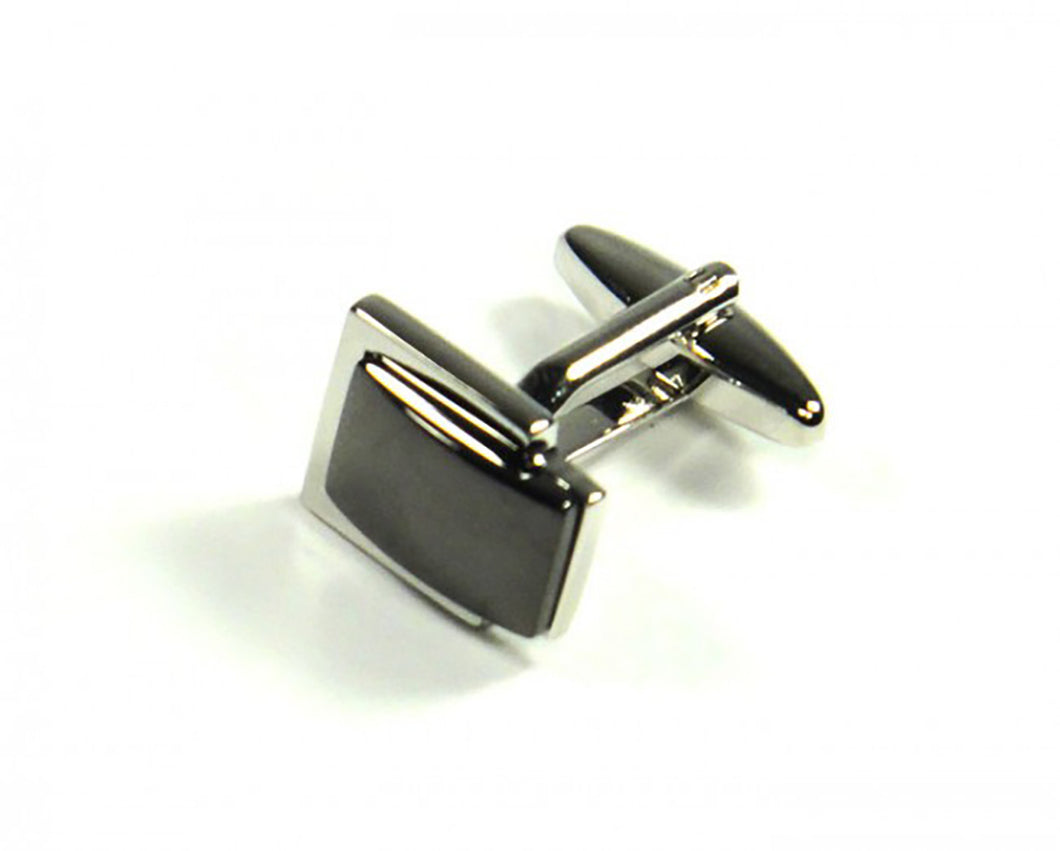 Black Inset Style Cufflinks (Premium High Quality Business / Wedding Accessories by Focus Ties)