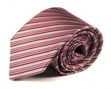 Load image into Gallery viewer, Pink Striped Silk Tie by Focus Ties (The Fogo - Premium High Quality Silk Business / Wedding Necktie)