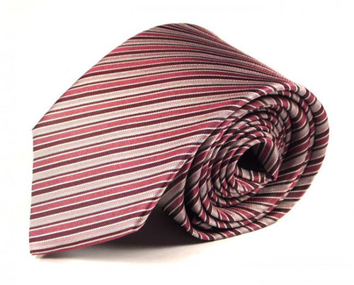 Pink Striped Silk Tie by Focus Ties (The Fogo - Premium High Quality Silk Business / Wedding Necktie)