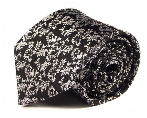 Black Paisley Silk Tie by Focus Ties (The Voon - Premium High Quality Silk Business / Wedding Necktie)