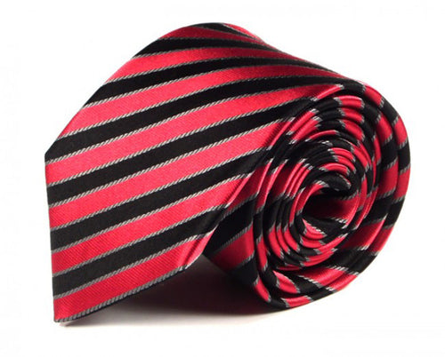 Pink Striped Silk Tie by Focus Ties (The Yega - Premium High Quality Silk Business / Wedding Necktie)