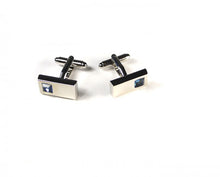 Load image into Gallery viewer, Blue Rectangle Stone Cufflinks