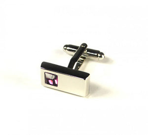 Pink Rectangle Stone Cufflinks (Premium High Quality Business / Wedding Accessories by Focus Ties)