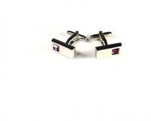 Load image into Gallery viewer, Pink Rectangle Stone Cufflinks
