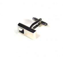 Load image into Gallery viewer, Black Rectangle Stone Cufflinks (Premium High Quality Business / Wedding Accessories by Focus Ties)