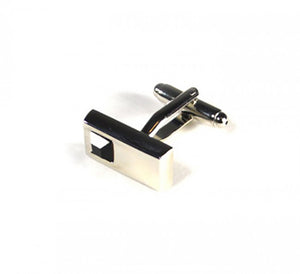 Black Rectangle Stone Cufflinks (Premium High Quality Business / Wedding Accessories by Focus Ties)