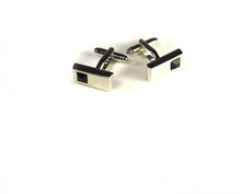 Load image into Gallery viewer, Black Rectangle Stone Cufflinks