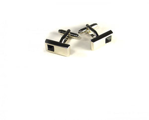 Black Rectangle Stone Cufflinks