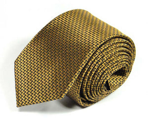 Gold Woven Silk Tie by Focus Ties (The Kongur Tagh - Premium High Quality Silk Business / Wedding Necktie)