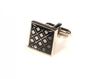 Black Silver Embossed Grid Cufflinks (Premium High Quality Business / Wedding Accessories by Focus Ties)