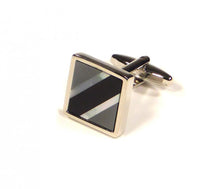 Load image into Gallery viewer, Black Grey Contrast Diagonal Cufflinks (Premium High Quality Business / Wedding Accessories by Focus Ties)