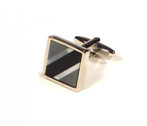 Black Grey Contrast Diagonal Cufflinks (Premium High Quality Business / Wedding Accessories by Focus Ties)