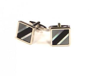 Black Grey Contrast Diagonal Cufflinks