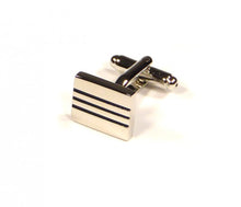 Load image into Gallery viewer, Black Two Stripe Rectangle Cufflinks (Premium High Quality Business / Wedding Accessories by Focus Ties)