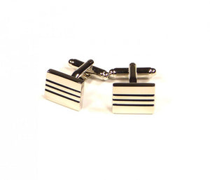 Black Two Stripe Rectangle Cufflinks