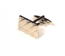 Load image into Gallery viewer, Silver Diagonal Self Stripe Cufflinks (Premium High Quality Business / Wedding Accessories by Focus Ties)
