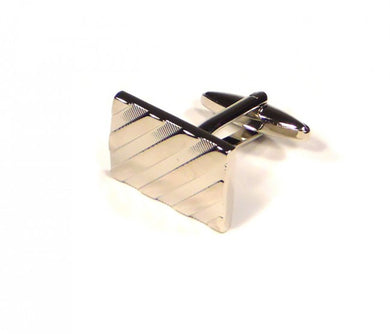 Silver Diagonal Self Stripe Cufflinks (Premium High Quality Business / Wedding Accessories by Focus Ties)