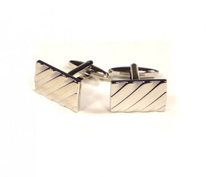 Silver Diagonal Self Stripe Cufflinks
