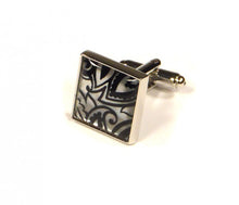 Load image into Gallery viewer, Black Silver Pattern Cufflinks (Premium High Quality Business / Wedding Accessories by Focus Ties)