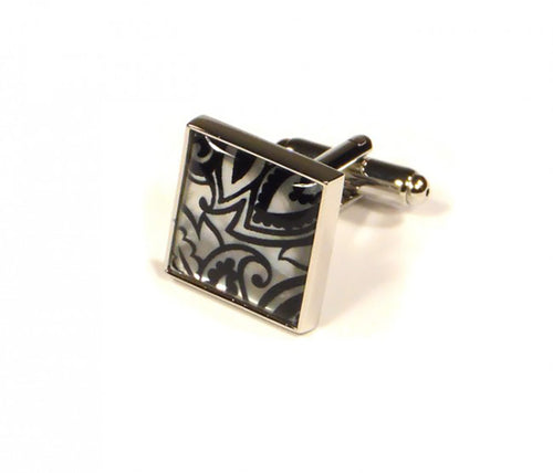 Black Silver Pattern Cufflinks (Premium High Quality Business / Wedding Accessories by Focus Ties)
