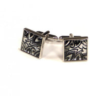 Load image into Gallery viewer, Black Silver Pattern Cufflinks