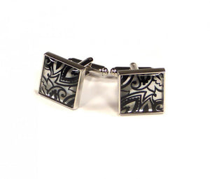 Black Silver Pattern Cufflinks