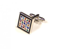 Load image into Gallery viewer, Rainbow Alphabet Cufflinks (Premium High Quality Business / Wedding Accessories by Focus Ties)