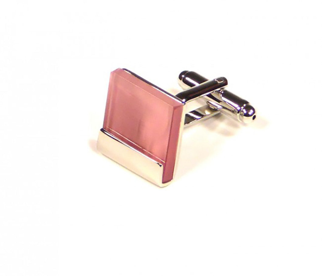 Pink Square Cufflinks (Premium High Quality Business / Wedding Accessories by Focus Ties)