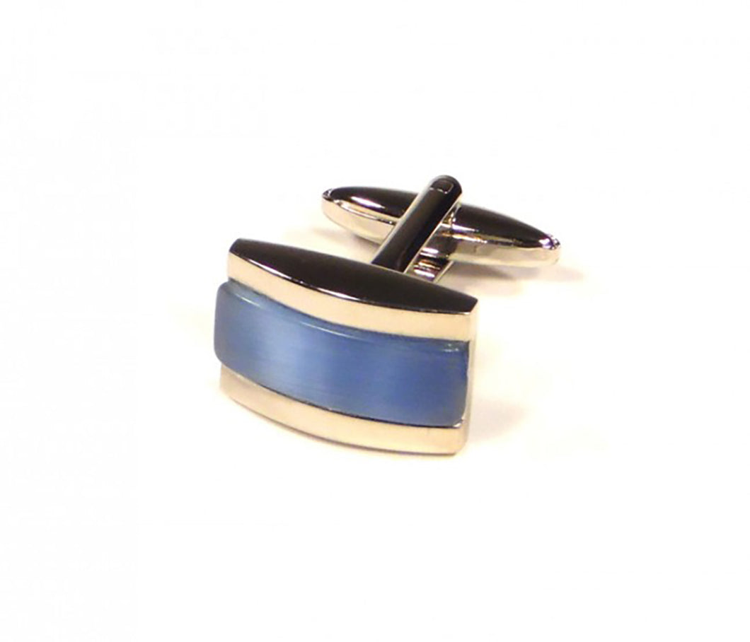 Blue Rectangle Thick Stripe Cufflinks (Premium High Quality Business / Wedding Accessories by Focus Ties)