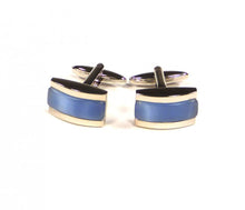 Load image into Gallery viewer, Blue Rectangle Thick Stripe Cufflinks