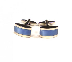 Blue Rectangle Thick Stripe Cufflinks