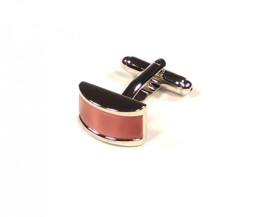 Pink Rectangle Thick Stripe Cufflinks (Premium High Quality Business / Wedding Accessories by Focus Ties)