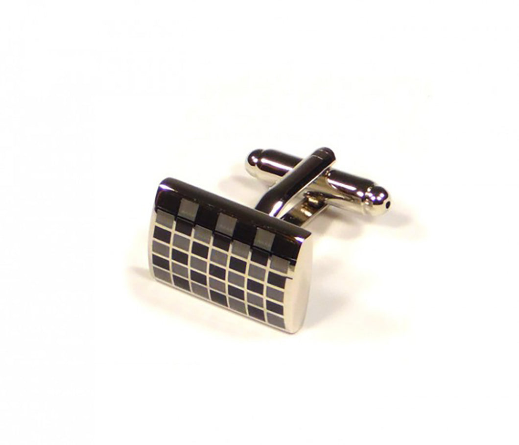 Black Grey Grid Cufflinks (Premium High Quality Business / Wedding Accessories by Focus Ties)