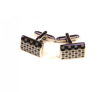 Load image into Gallery viewer, Black Grey Grid Cufflinks