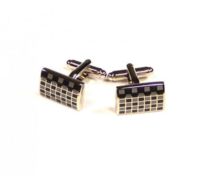 Black Grey Grid Cufflinks