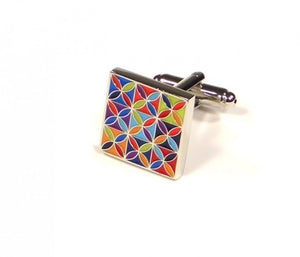 Rainbow Pattern Square Cufflinks (Premium High Quality Business / Wedding Accessories by Focus Ties)