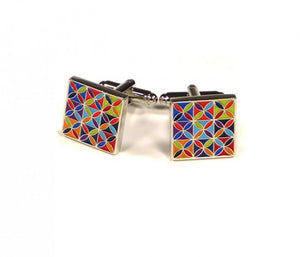 Rainbow Pattern Square Cufflinks