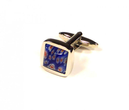 Blue Flower Embossed Cufflinks (Premium High Quality Business / Wedding Accessories by Focus Ties)