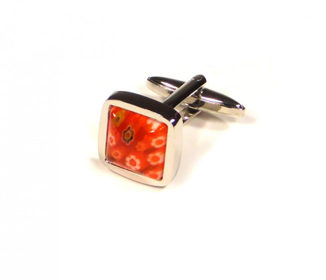 Red Flower Embossed Cufflinks (Premium High Quality Business / Wedding Accessories by Focus Ties)