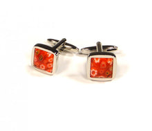 Load image into Gallery viewer, Red Flower Embossed Cufflinks