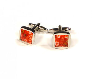 Red Flower Embossed Cufflinks