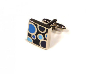 Blue Black Circle Pattern Cufflinks (Premium High Quality Business / Wedding Accessories by Focus Ties)