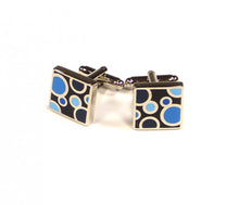 Load image into Gallery viewer, Blue Black Circle Pattern Cufflinks
